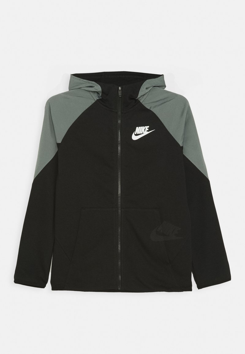 Nike Sportswear - MIXED MATERIAL - Zip-up hoodie - black/white