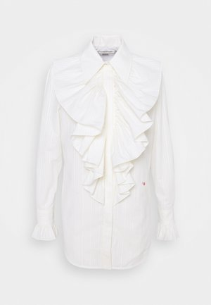 RUFFLE FRONT SHIRT - Blus - off white