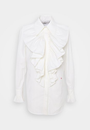 RUFFLE FRONT SHIRT - Blouse - off white