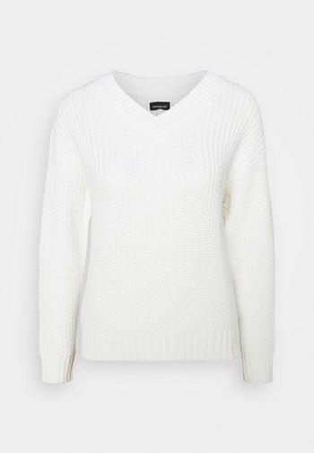 V-NECK OVERSIZED - Stickad tröja - offwhite