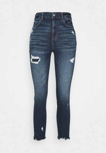 CURVY SUPER HIGH RISE CROP - Jeans slim fit - dark-blue denim