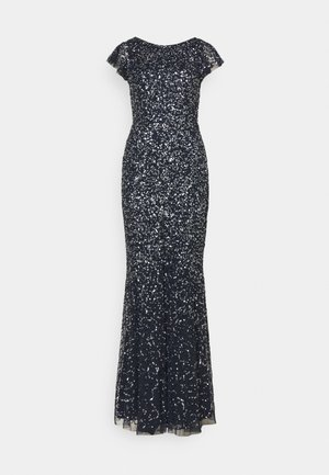 ALL OVER SEQUIN WITH FLUTTER SLEEVE - Abito da sera - navy