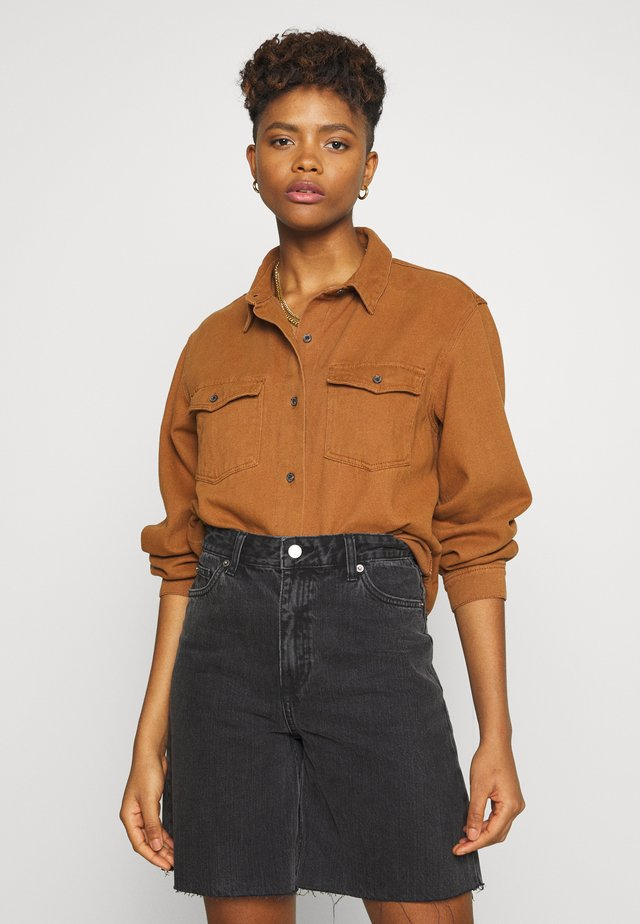OVERSIZED DENIM SHIRT - Button-down blouse - camel