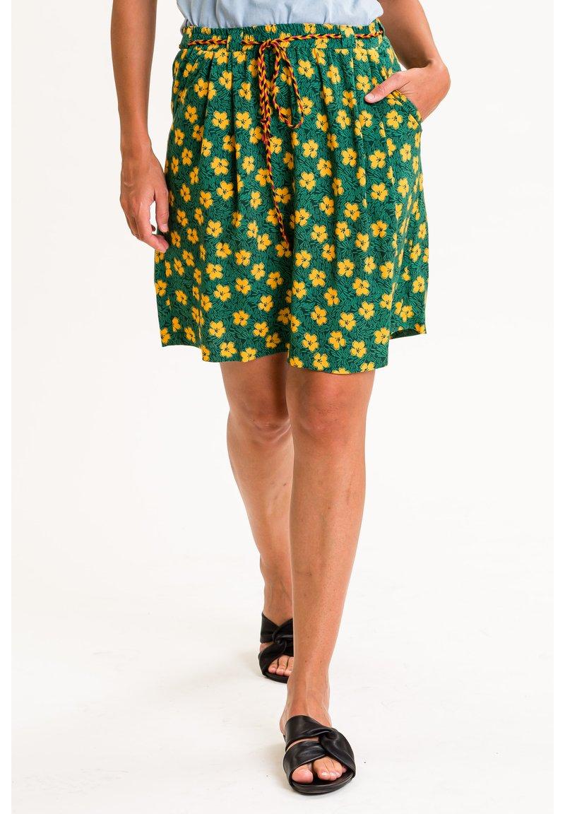 UVR Berlin - A-line skirt - grün mit gelbem blütenprint
