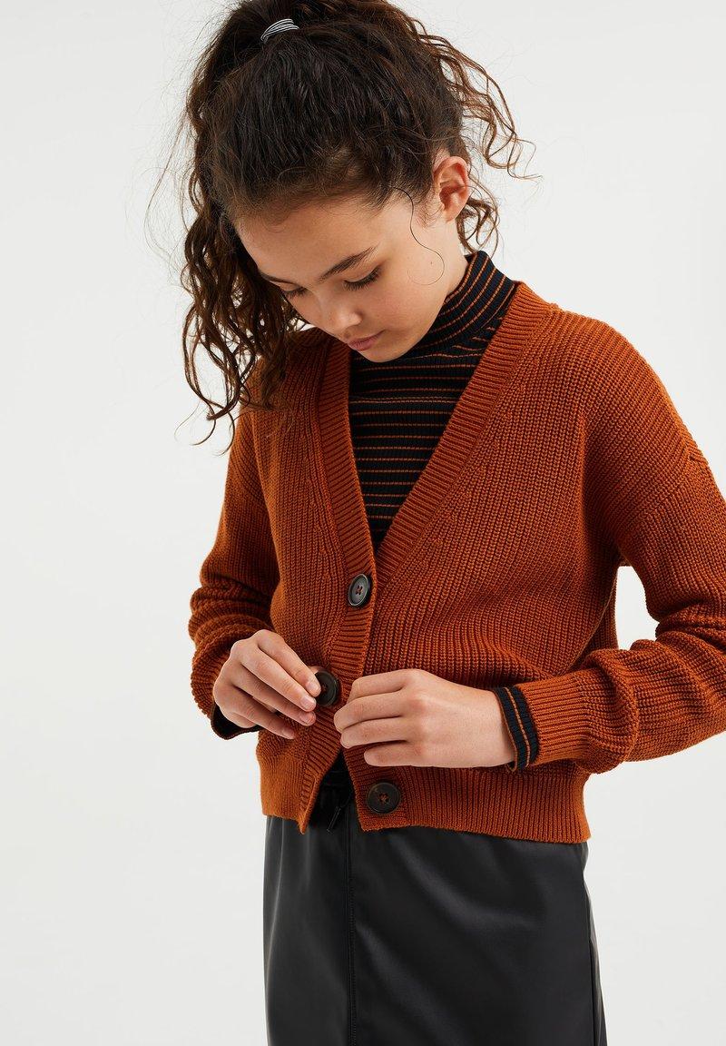 WE Fashion - Chaqueta de punto - rust brown