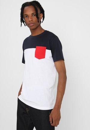 Print T-shirt - white /navy/ firered