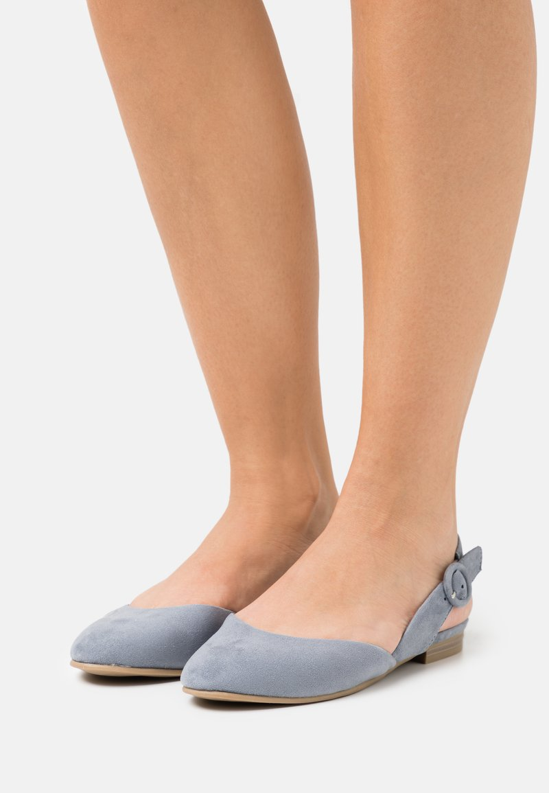 Marco Tozzi - Ankle strap ballet pumps - steel