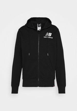 ESSENTIALS STACKED FULL ZIP HOODIE - Zip-up hoodie - black