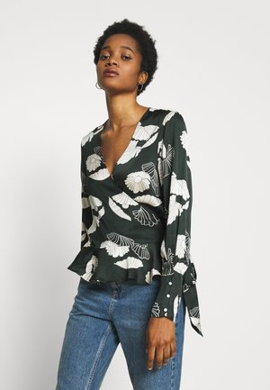 FEMININE WRAP - Blouse - green/off-white
