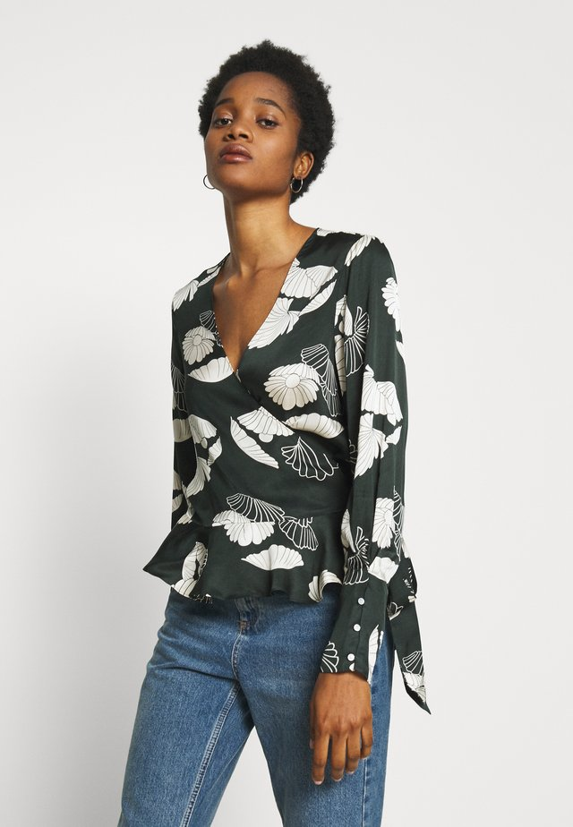 FEMININE WRAP - Blusa - green/off-white