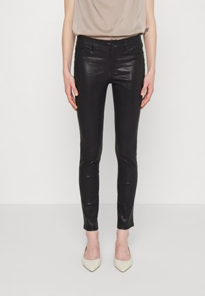 STRETCH PANT - Leather trousers - black