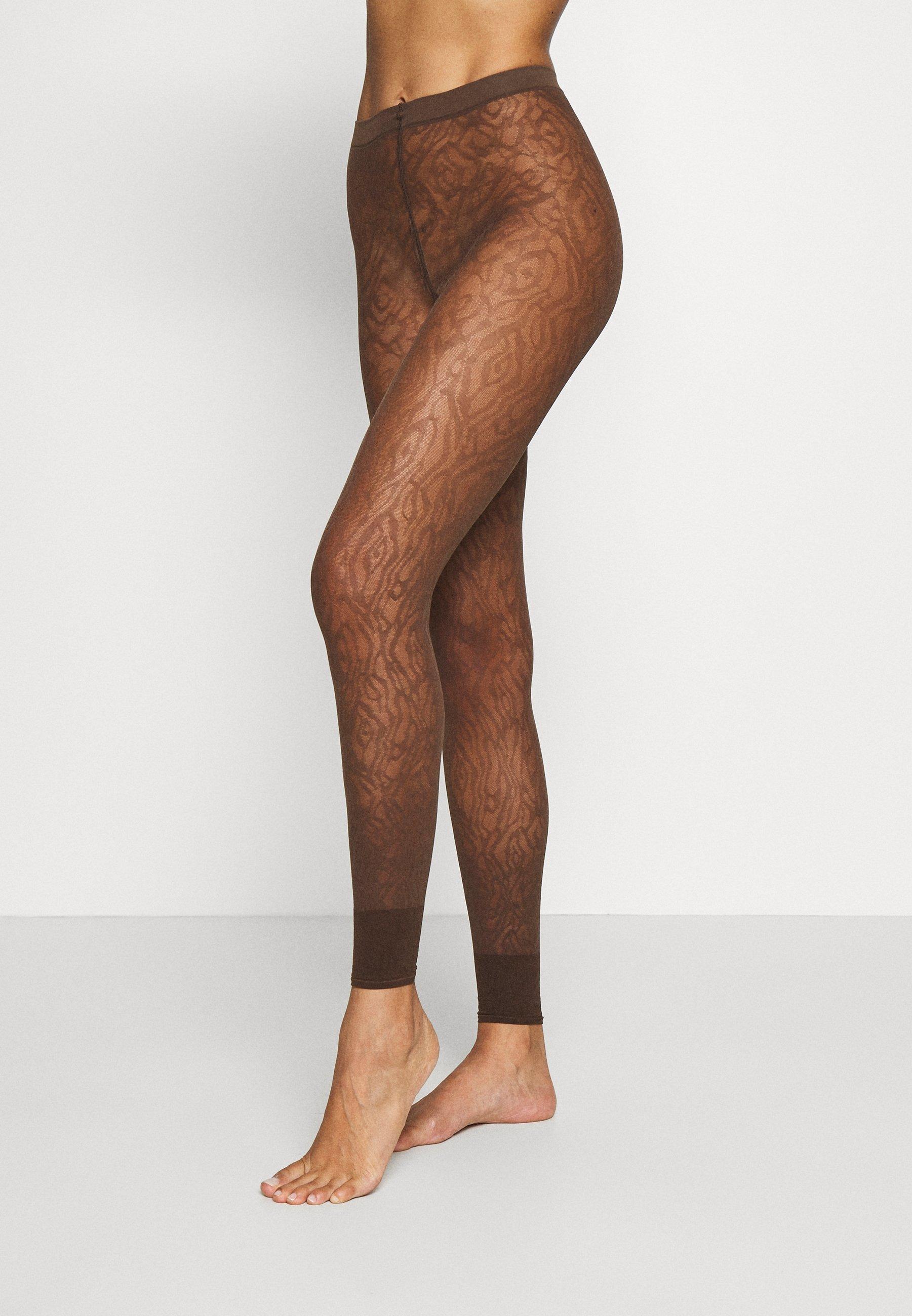 Women FALKE ZEBRA 20 DENIER  LEGGINGS TRANSPARENT FEIN BRAUN - Leggings - Stockings