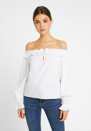 GRADUATION DROP FRILL NECK BALLOON SLEEVE - Maglietta a manica lunga - white
