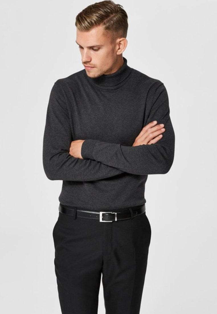 Selected Homme - SLHTOWER ROLL   - Jumper - anthracite
