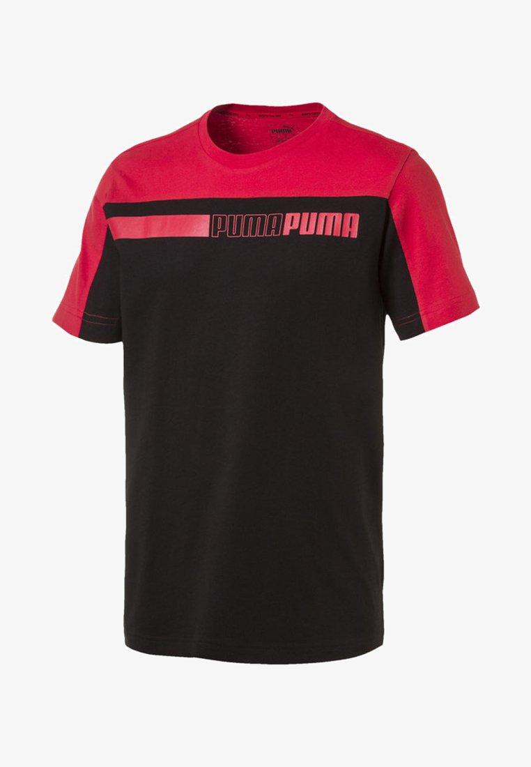 Puma - MAND - Print T-shirt - cotton black-high risk red