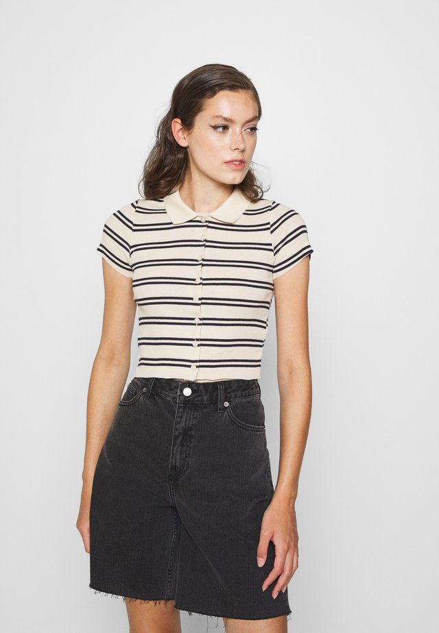 STRIPED COLLARED - Camicia - black/beige