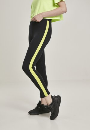 Leggings - Trousers - black/electriclime