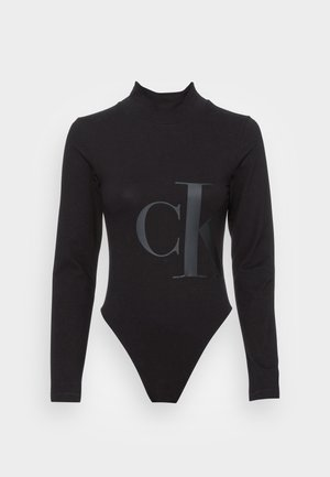 PEACHED ROLL NECK - Long sleeved top - black