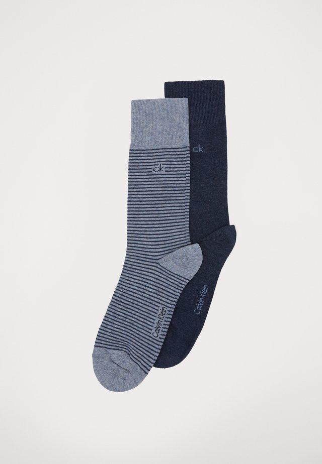 MEN CREW FINE STRIPED 2 PACK - Socken - denim combo