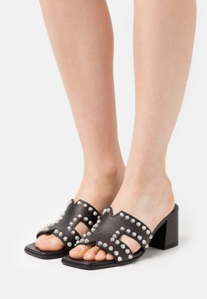 POLLY - Heeled mules - schwarz/silver