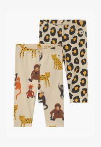 Lindex - LEO AND MONKEY 2 PACK - Leggings - Trousers - light beige - 0