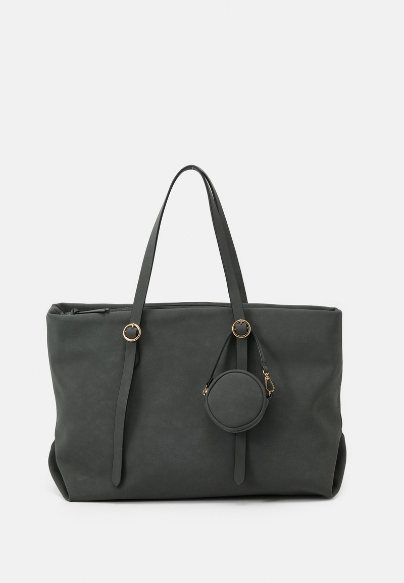 New Look - CHALKY ROUND POUCH TOTE - Tote bag - light green