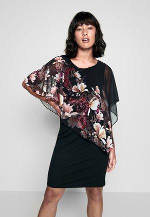 FLORAL OVERLAYER DRESS - Sukienka letnia - black