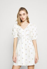 Glamorous - TIE BACK BUTTON MINI DRESSES WITH PUFF SLEEVES - Day dress - yellow - 0