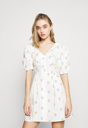 TIE BACK BUTTON MINI DRESSES WITH PUFF SLEEVES - Day dress - yellow