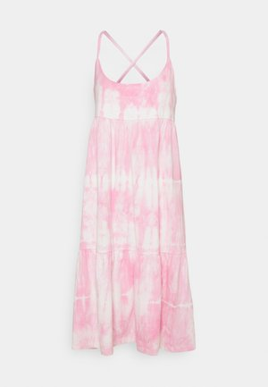 STRAPPY TIERED MIDI - Jersey dress - pink tie dye