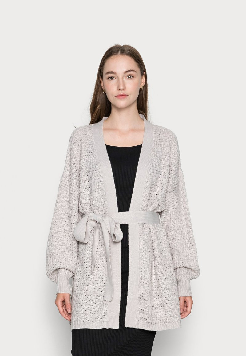 Missguided - RECYCLED WAFFLE STITCH BELTED  - Cardigan - grey