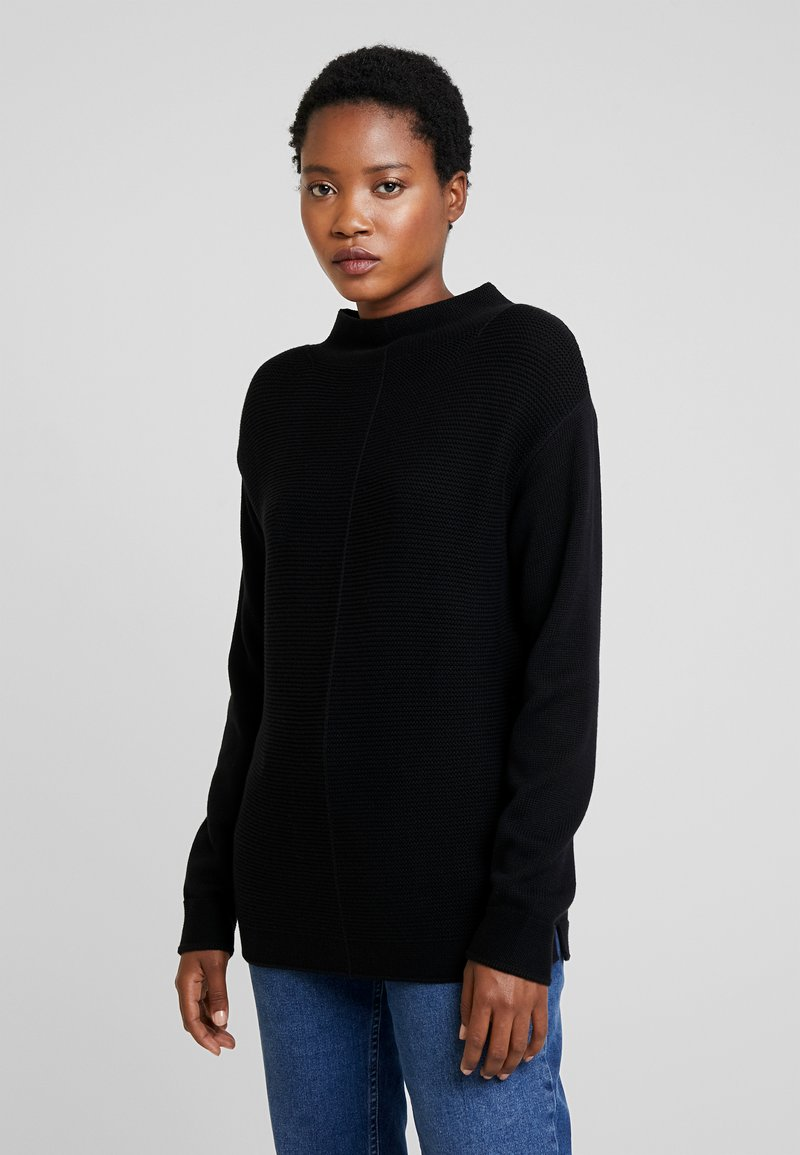 Marc O'Polo - LONGSLEEVE STRUCTURE MIX TURTLENECK - Jumper - black