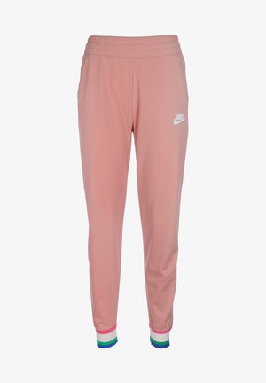 Tracksuit bottoms - rust pink/white