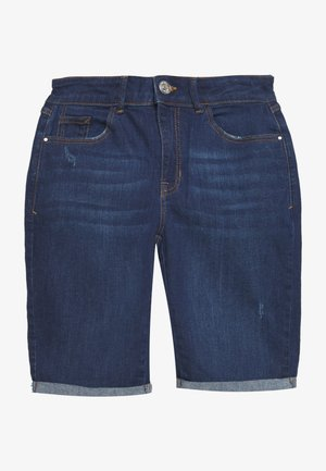 KNEE SHORT - Džínové kraťasy - dark-blue denim