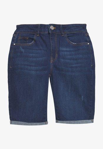 KNEE SHORT - Denim shorts - dark-blue denim
