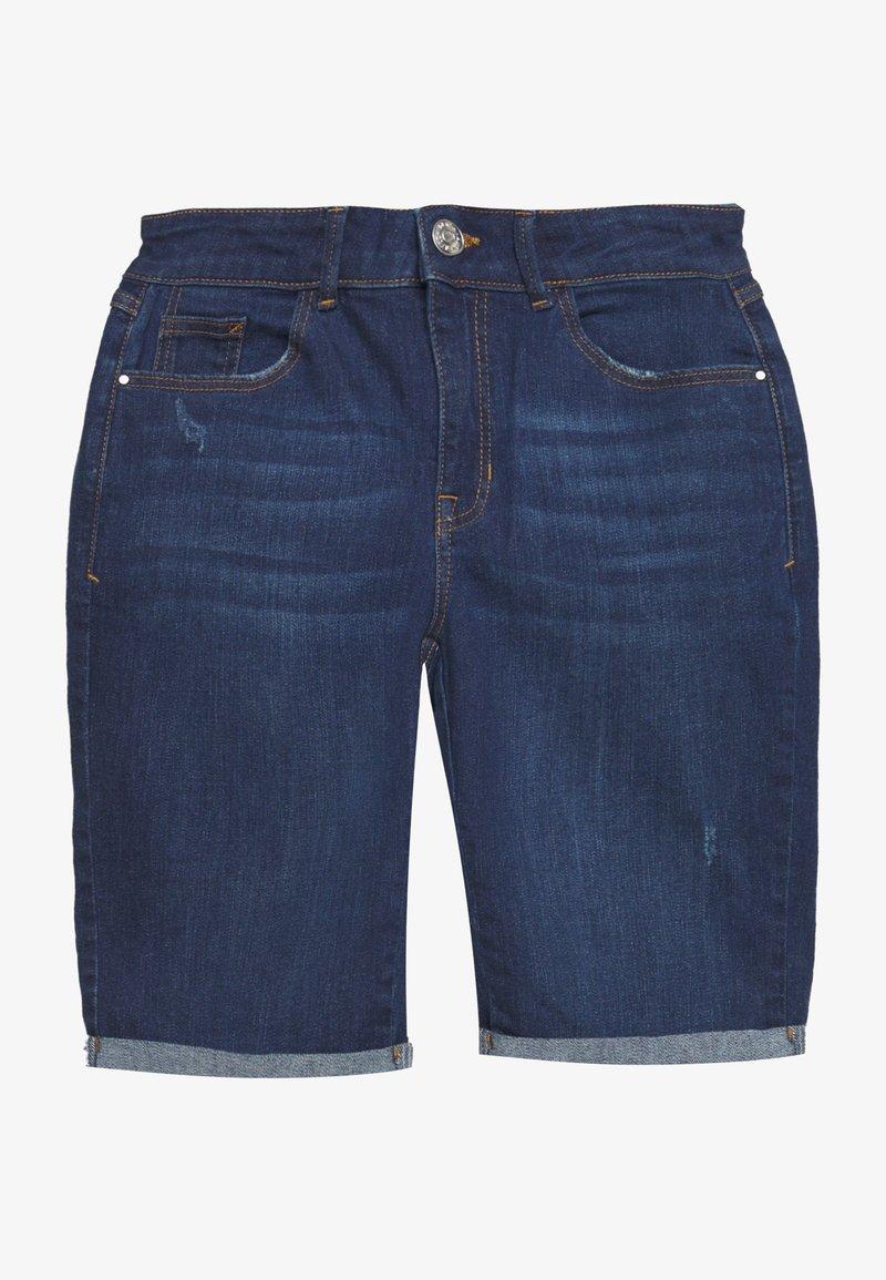 Dorothy Perkins - KNEE SHORT - Denim shorts - dark-blue denim