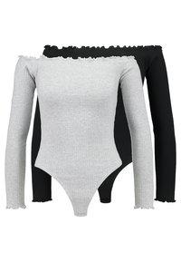 Missguided - LETTUCE HEM BARDOT BODYSUIT 2 PACK - Long sleeved top - grey/black - 0