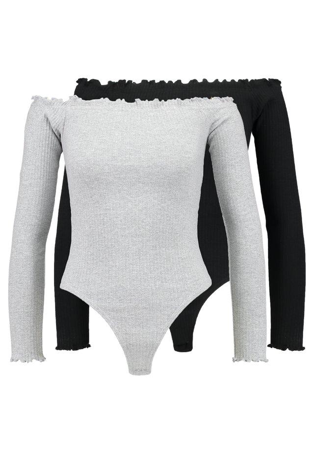 LETTUCE HEM BARDOT BODYSUIT 2 PACK - Top sdlouhým rukávem - grey/black