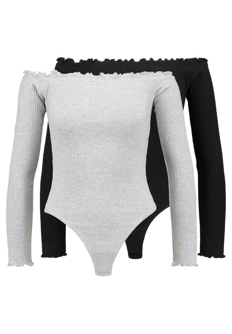 Missguided - LETTUCE HEM BARDOT BODYSUIT 2 PACK - Long sleeved top - grey/black