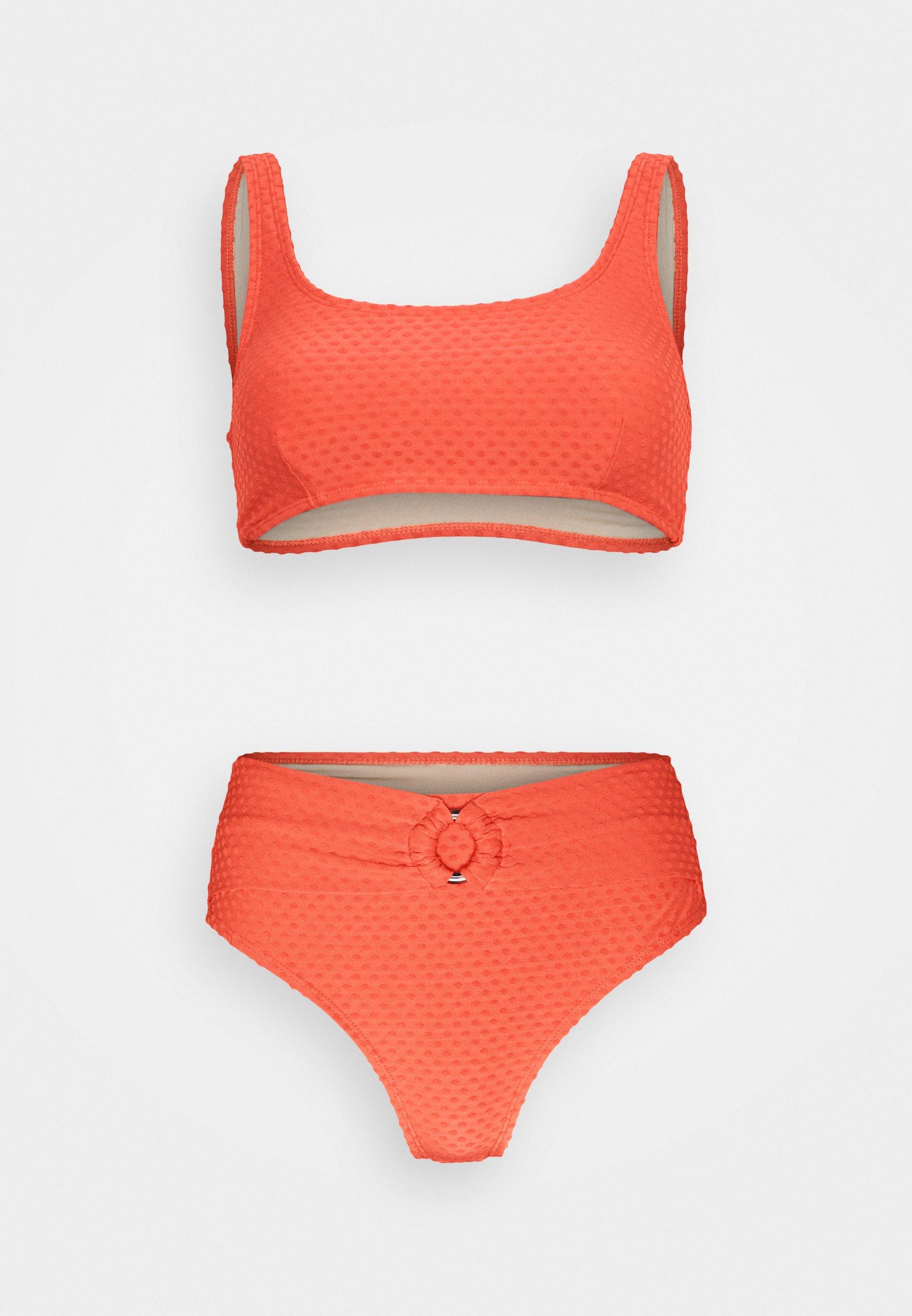 Women SQAURE NECK CROP HIGHWASISTED CHEEKY - Bikini