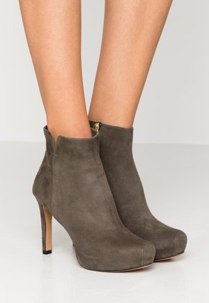 High heeled ankle boots - dark khaki