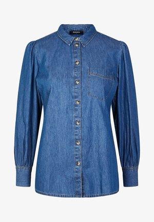 JEANSHEMD PUFFÄRMEL - Button-down blouse - medium blue denim