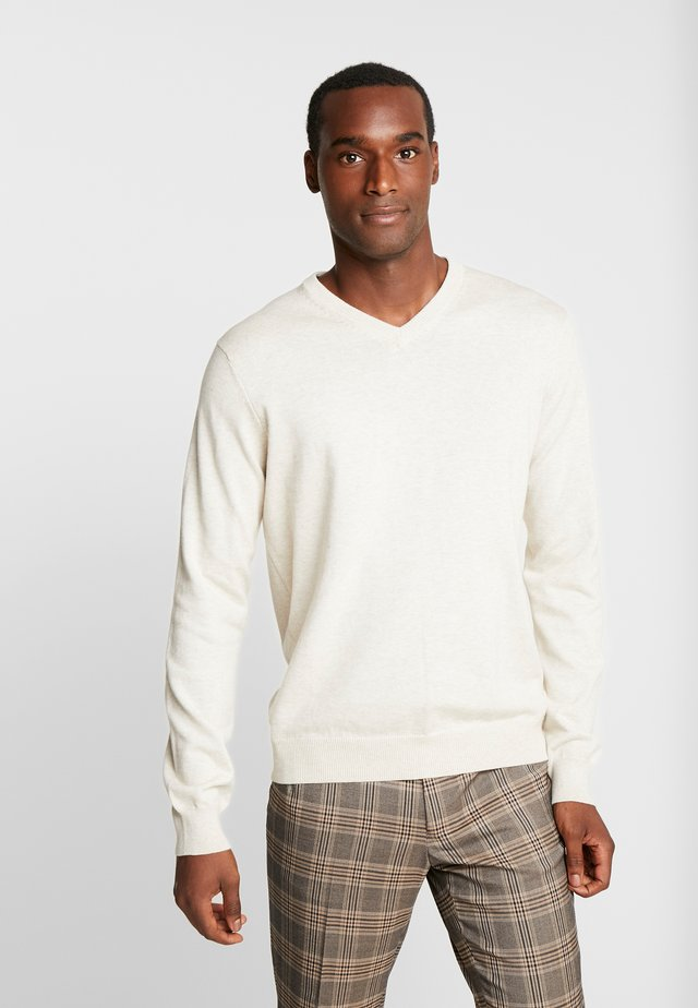 V-NECK - Jumper - rock heather