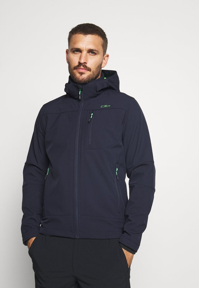 MAN JACKET ZIP HOOD - Softshelljas - blue/verde