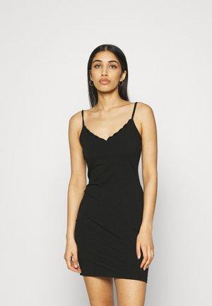 Scallop edge mini strap dress - Shift dress - black
