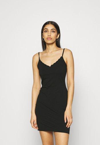 Scallop edge mini strap dress - Etuikjole - black