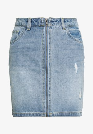 NMAYLA SHORT ZIP SKIRT - Minijupe - light blue denim