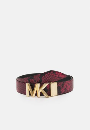 REVERSIBLE BELT - Pásek - dark rasberry/black/ gold-coloured