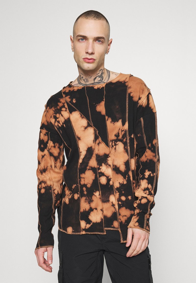 Jaded London - BLEACHED CUT AND SEW EXPOSED SEAM - Long sleeved top - black