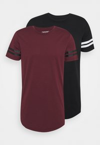 Jack & Jones Performance - JCOZDOUBLE STRIPE TEE 2 PACK - T-shirt med print - black/port royale - 0